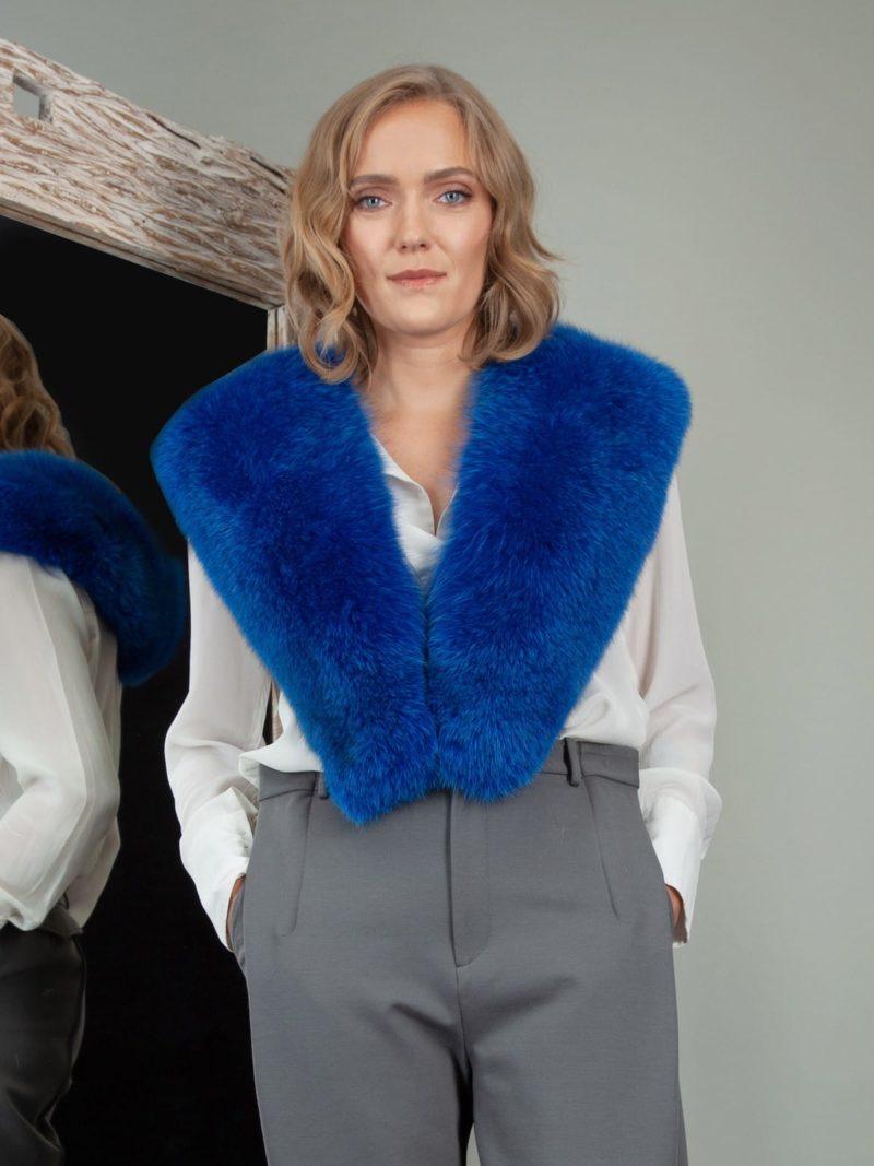deep blue fox fur collar shoulder wrap