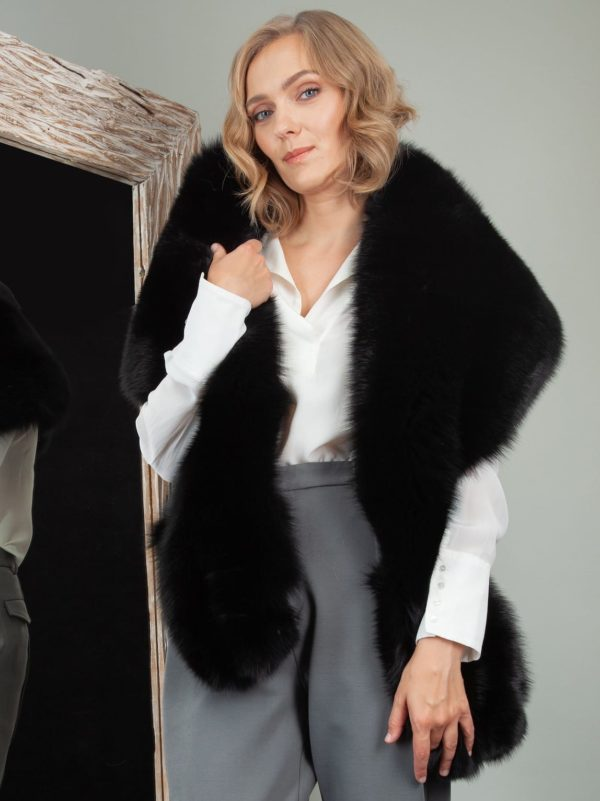 double sided big fox fur collar wrap boa