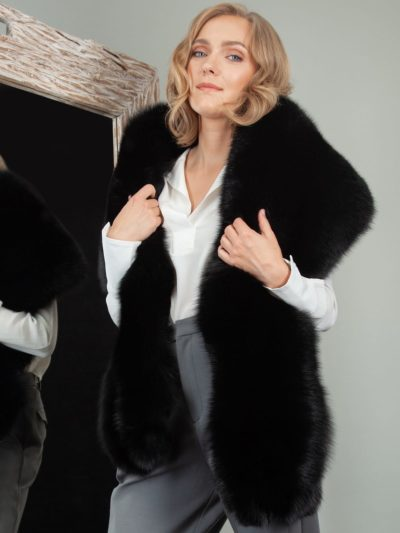 double sided big fox fur collar wrap boa