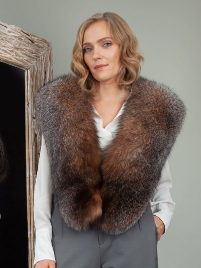 genuine crystal brown fox fur wide collar