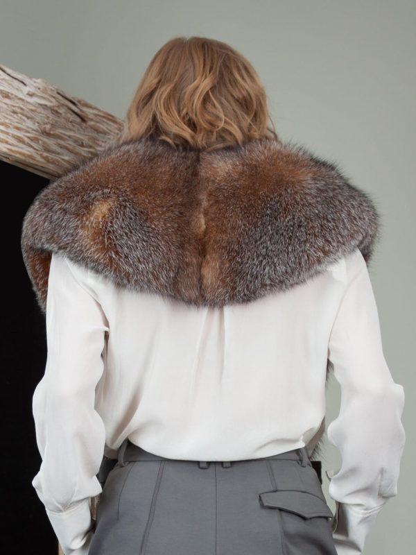genuine crystal brown fox fur wide collar