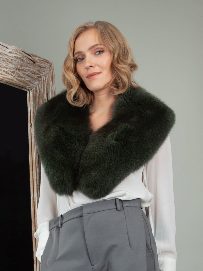 genuine dark green fox fur wide collar