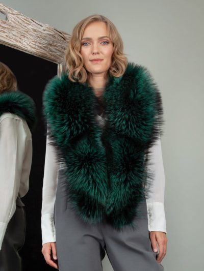 genuine green fox fur big collar
