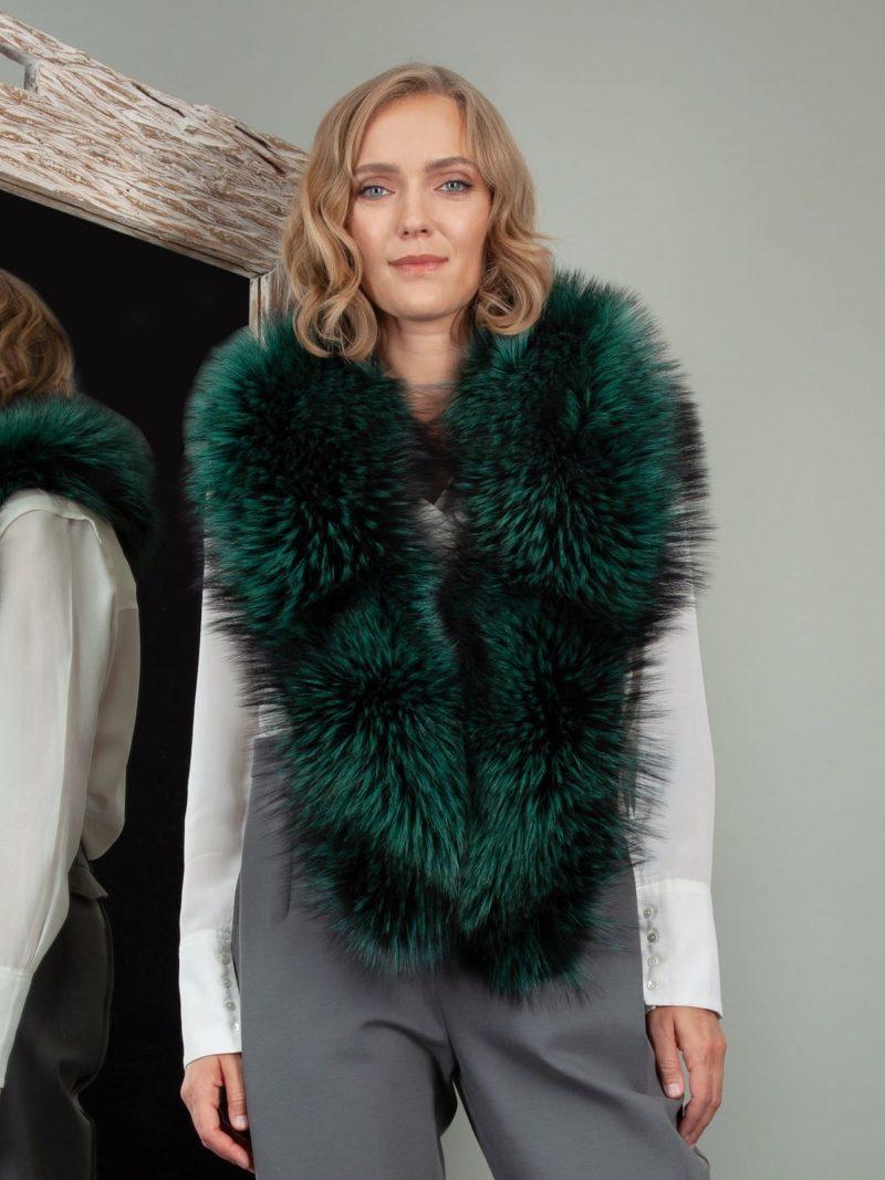 genuine green fox fur big collar