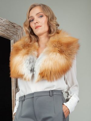 genuine island fox fur collar