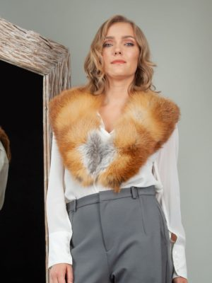 genuine wild red fox fur collar