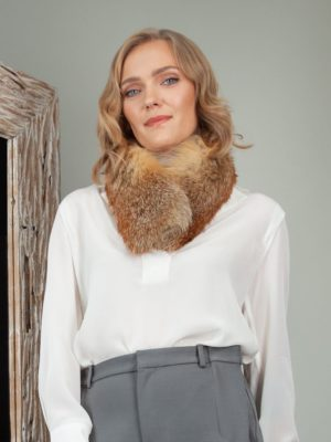 genuine red fox fur scarf small collar