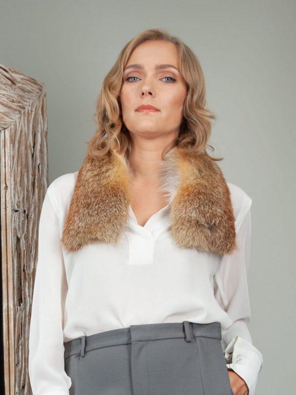 genuine red fox fur scarf small collar
