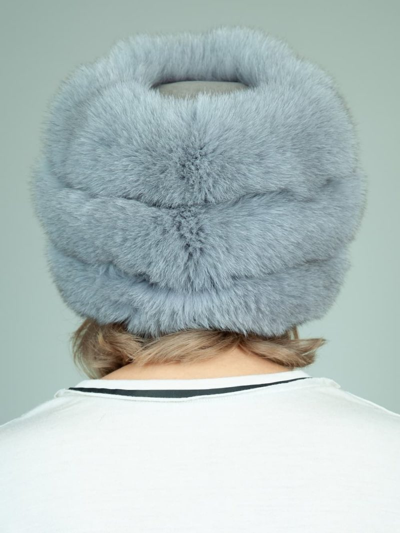 gray fox fur hat with leather inserts and flat top