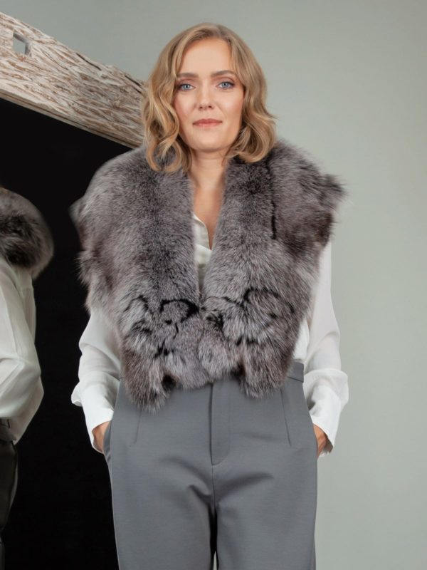 gray fox fur wide collar with decoration