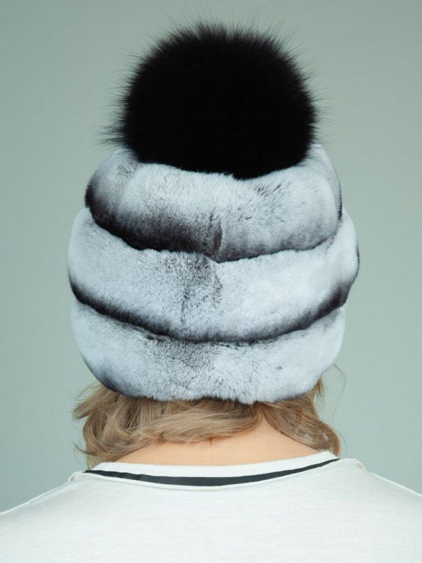 gray rex rabbit fur hat with leather inserts with fox pom-pom