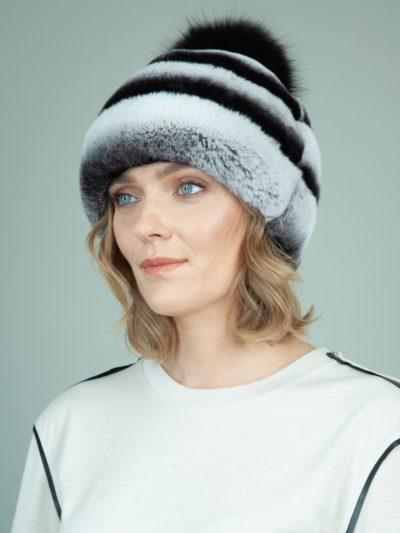 gray rex rabbit fur hat with leather inserts with fox pom-pom