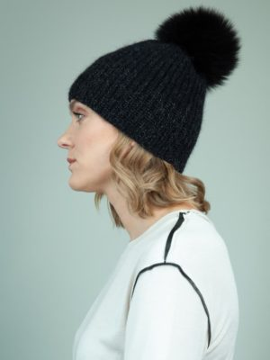 handknit black baby merino wool mohair hat with detachable fox fur pom-pom for women