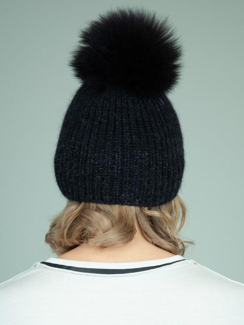 handknit black baby merino wool mohair hat with detachable fox fur pom-pom for women