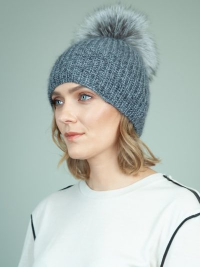 handknit gray baby merino wool mohair hat with detachable fox fur pom-pom for women
