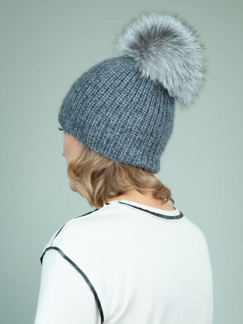 handknit gray baby merino wool mohair hat with detachable fox fur pom-pom for women