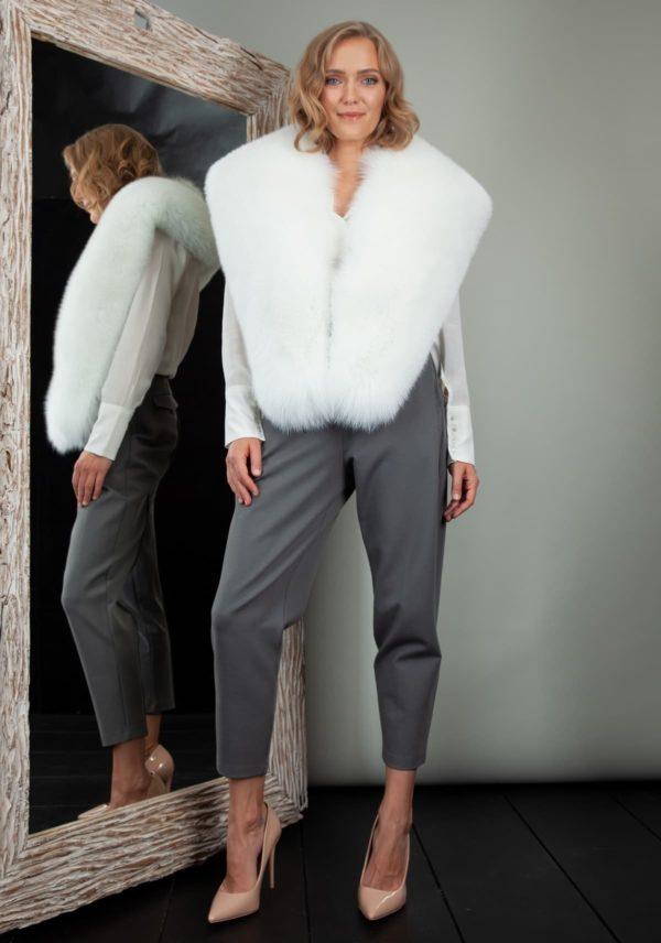 huge natural white fox fur collar boa wrap