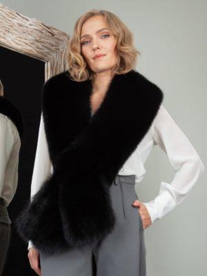 keyhole black fox fur long collar