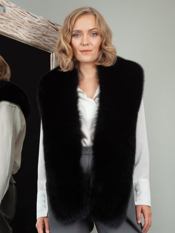 keyhole black fox fur long collar