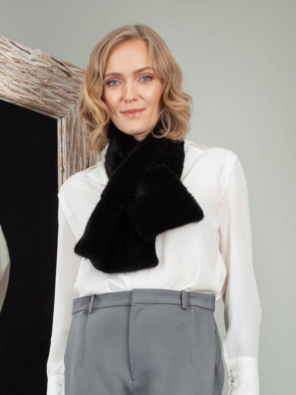 keyhole black mink fur scarf neck wrap