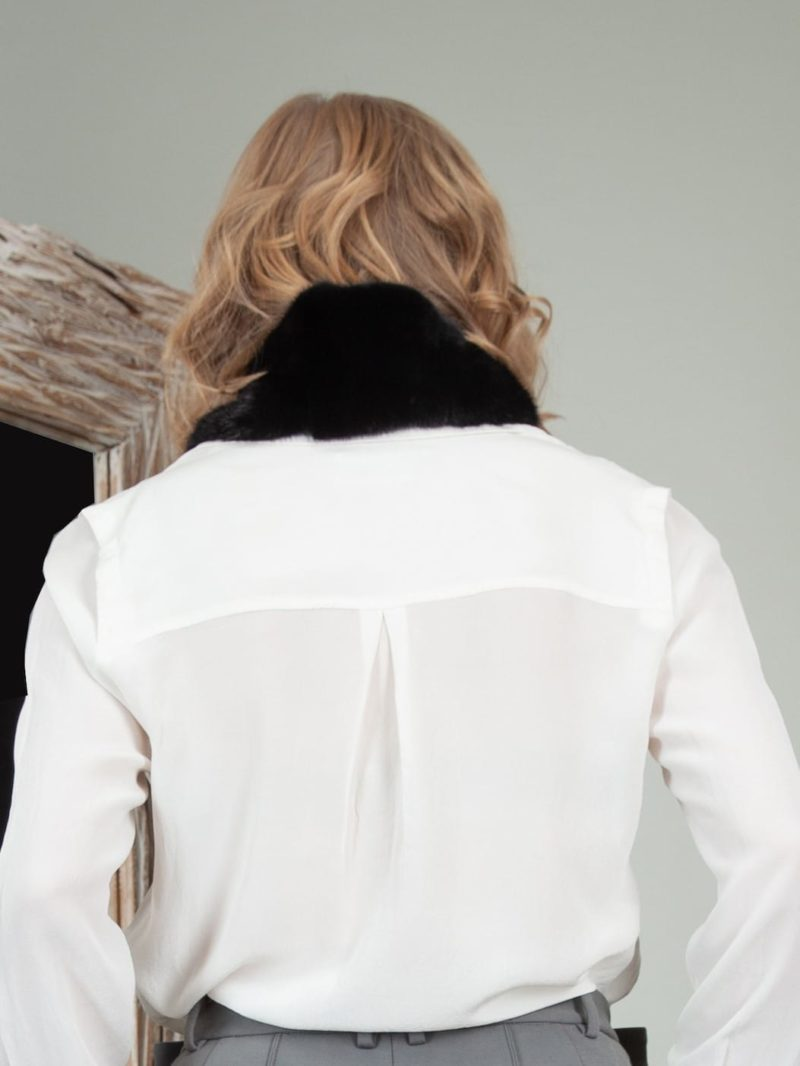 keyhole black mink fur scarf