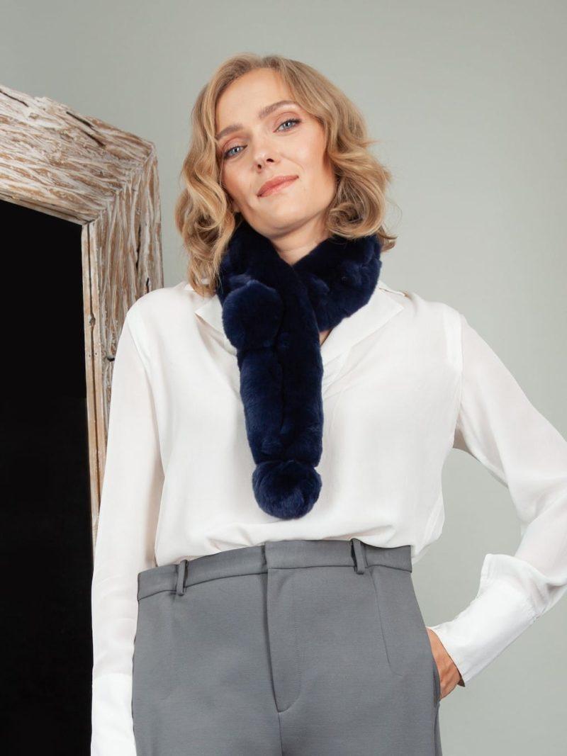 keyhole dark blue chinchilla rex rabbit fur scarf