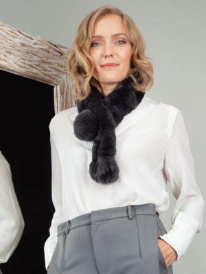 keyhole dark gray chinchilla rex rabbit fur scarf
