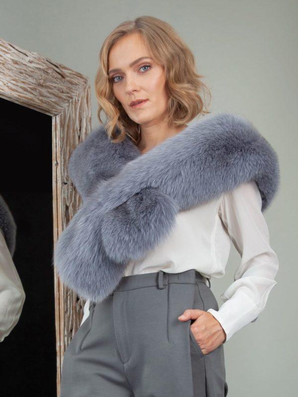 keyhole dusty blue fox fur collar boa