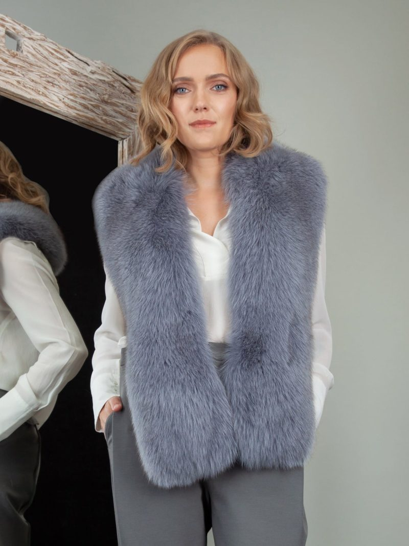 keyhole dusty blue fox fur collar boa