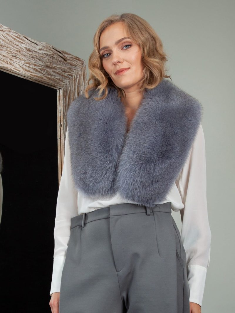 keyhole dusty blue fox fur collar shoulder wrap