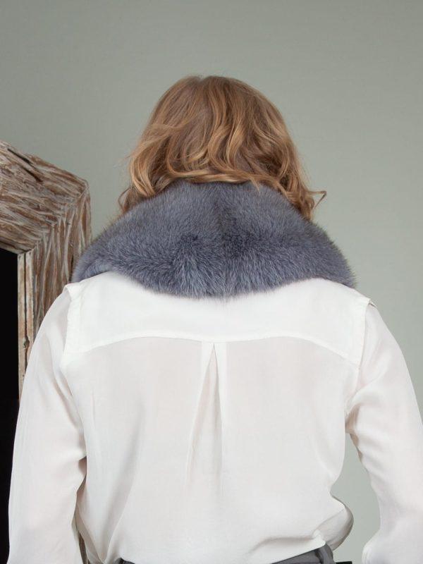 keyhole dusty blue fox fur collar shoulder wrap