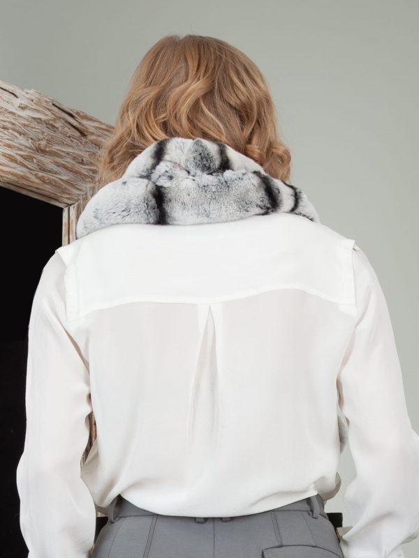 keyhole gray chinchilla rex rabbit fur scarf