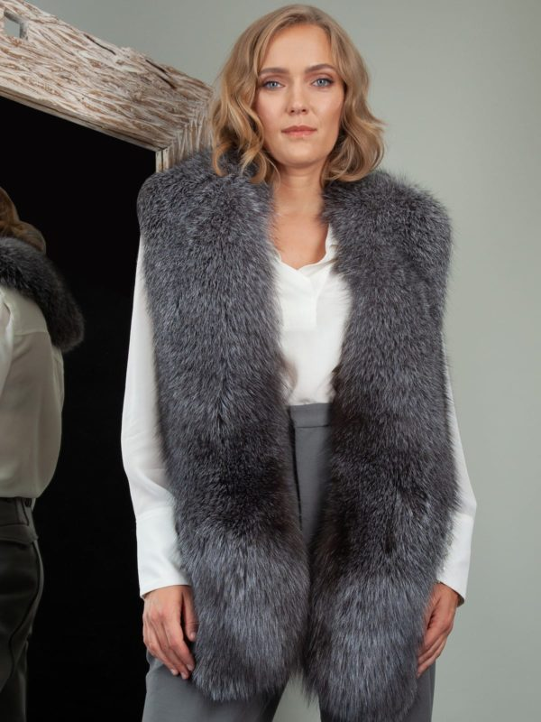keyhole long natural silver fox fur collar boa