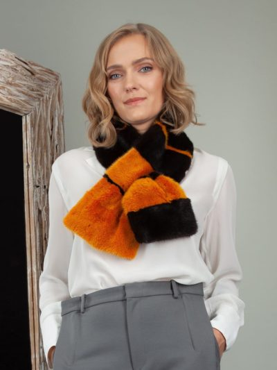 keyhole multicolor mink fur scarf small collar neck wrap
