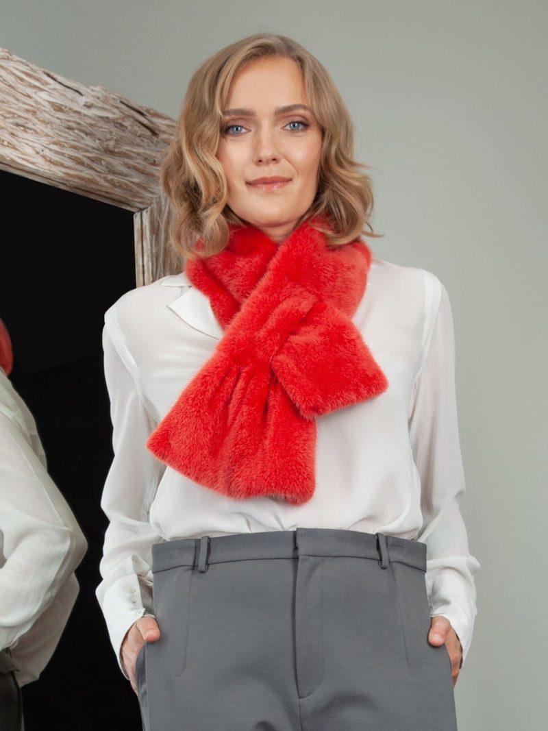 keyhole orange mink fur scarf collar