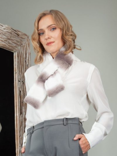 white keyhole rex chinchilla rabbit fur scarf collar