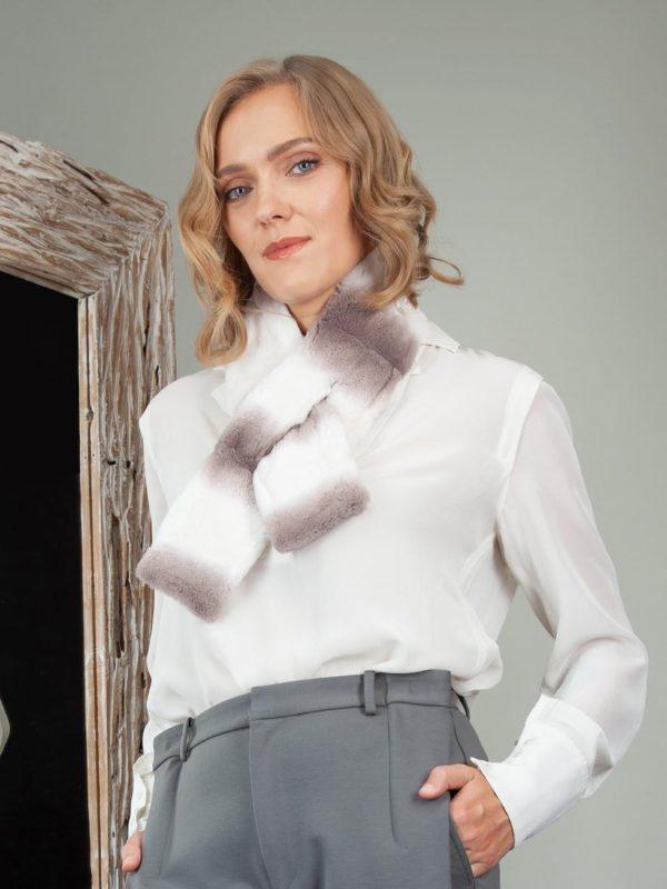 white keyhole rex chinchilla rabbit fur scarf collar