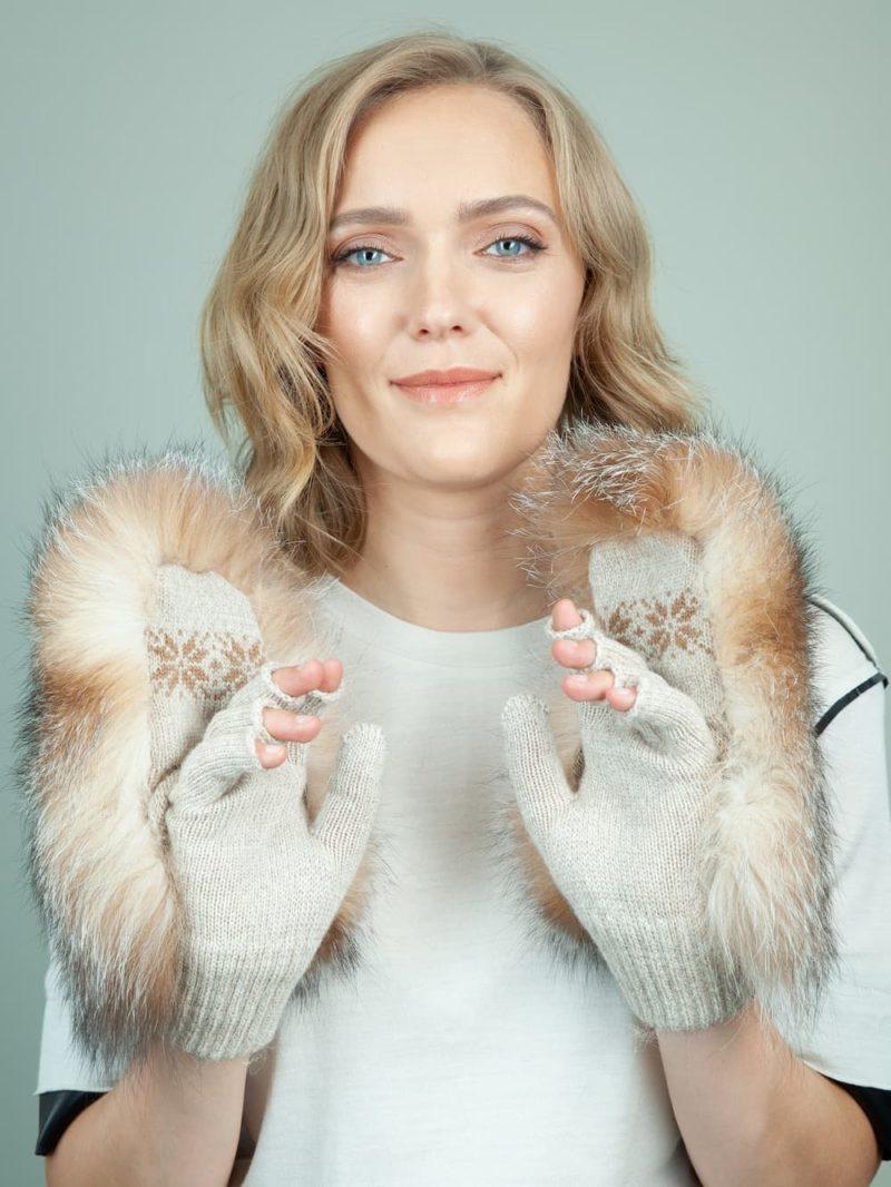 knit beige wool mittens brown fox fur mittens gloves for women