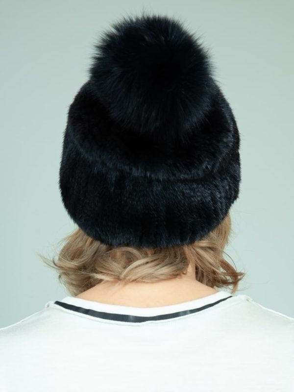 knit slouchy black mink fur hat with fox pom-pom for women