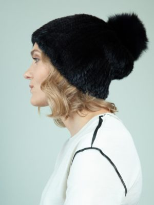knit slouchy black mink fur hat with fox pom-pom for women