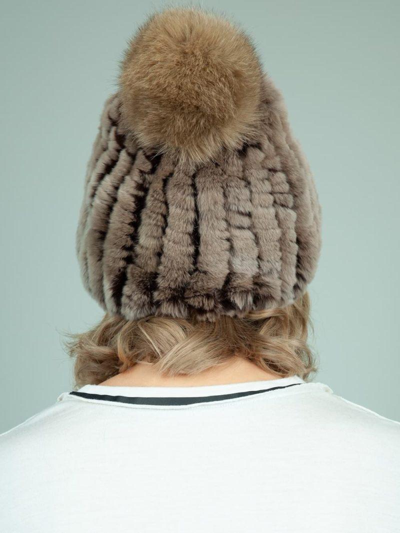 knit slouchy brown rex rabbit fur hat with fox fur pom-pom for women