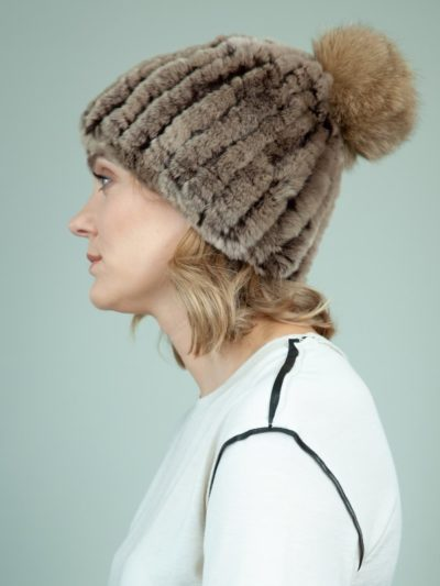 knit slouchy brown rex rabbit fur hat with fox fur pom-pom for women
