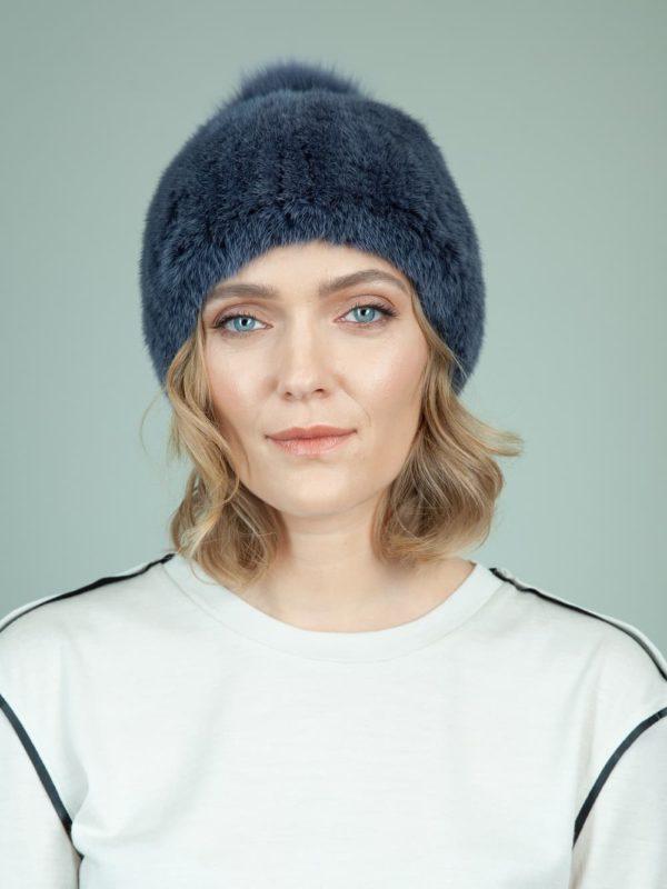 knit slouchy dark blue mink fur hat with fox pom-pom for women