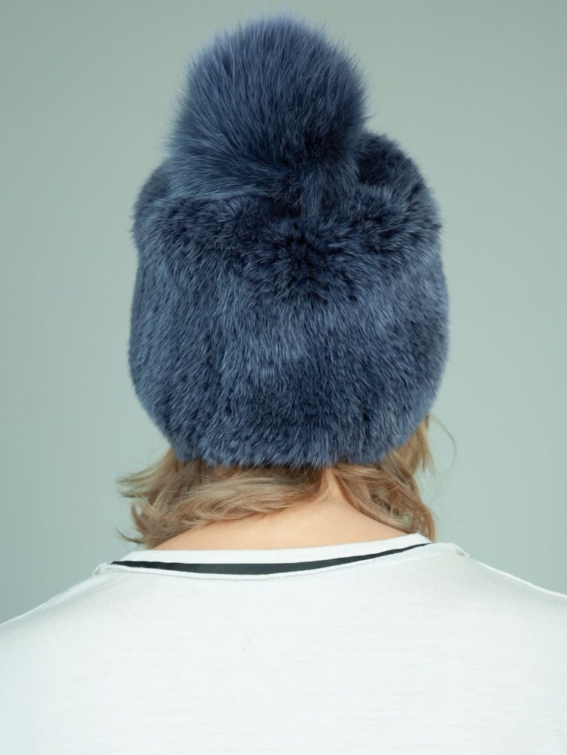 knit slouchy dark blue mink fur hat with fox pom-pom for women