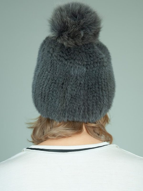 knit slouchy dark gray mink fur hat with fox fur pom-pom for women