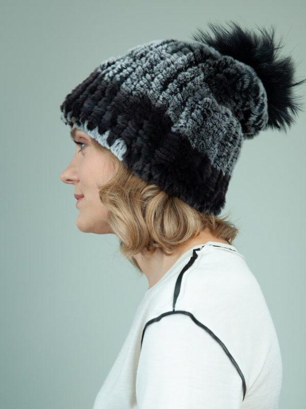 knit slouchy dark gray rex rabbit fur hat with fox pom-pom for women