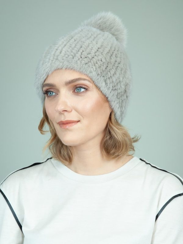 slouchy knit light gray mink fur hat with fox pom for women