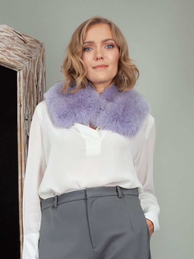 lavender purple fox fur small collar