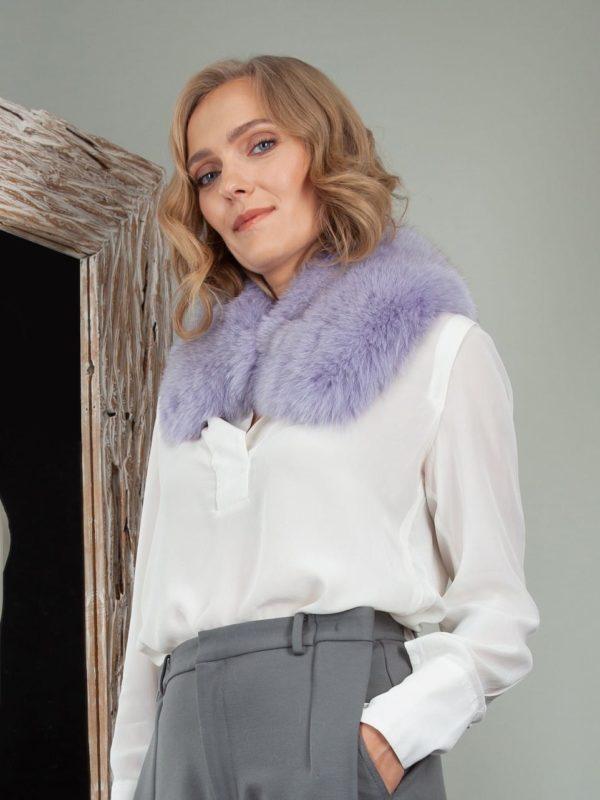 lavender purple fox fur small collar