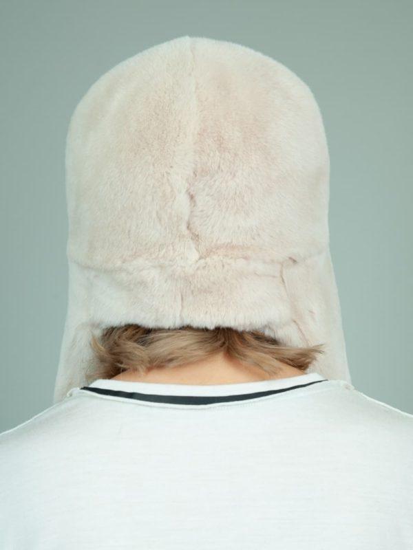 beige rex rabbit full fur russian hat with ears for women
